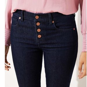 LOFT Button Fly Skinny Jeans In Dark Rinse Wash